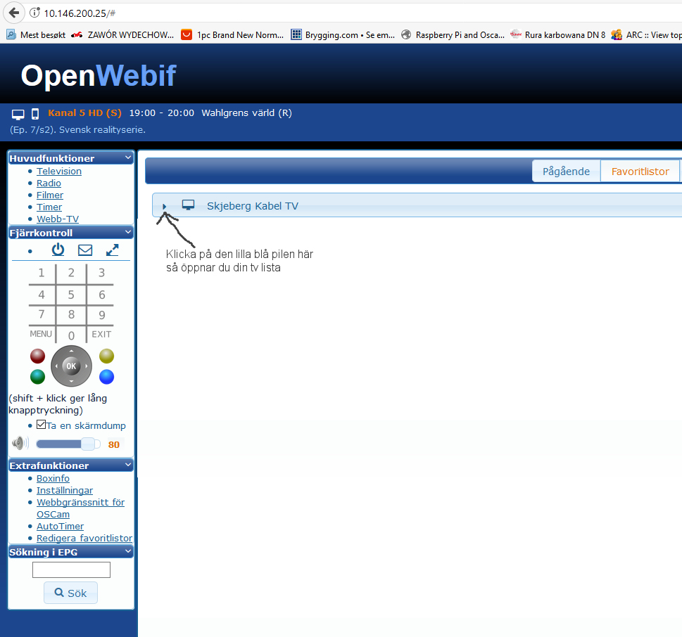 OpenWebIf Strömma TV